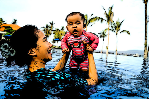 A mother and her child swim in a pool while on vacation. the mother and child have were edited to achieve a cartoon effect.