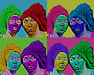 A couple coming together for a fun Pop Art Effect