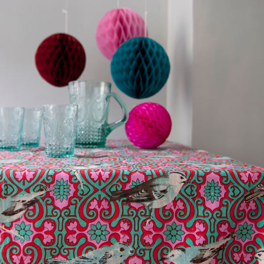 bird design funky tablecloth