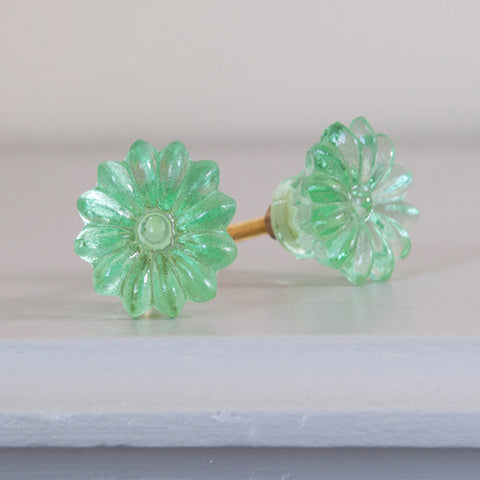 Floral Drawer Knobs - Green