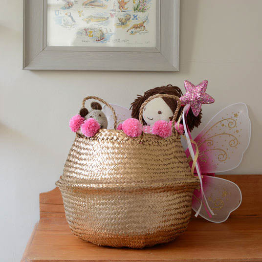 Gold Storage Baskets - Pink Pompoms
