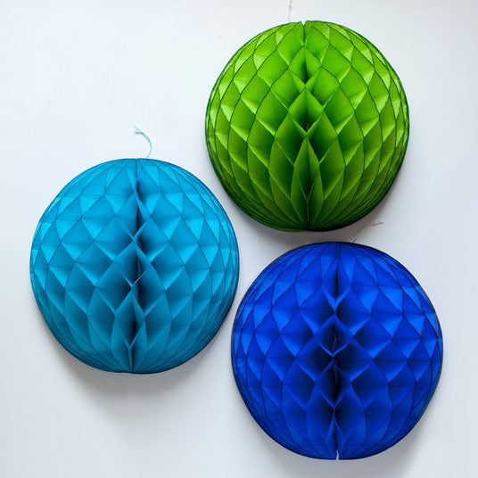blue honeycomb decorations