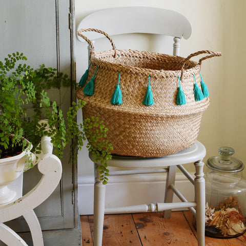 Seagrass Baskets - Green Tassels