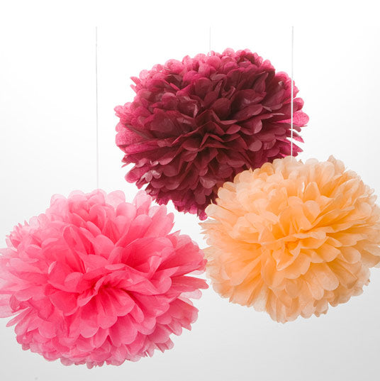 Pink Paper Pom Poms - Set of 3