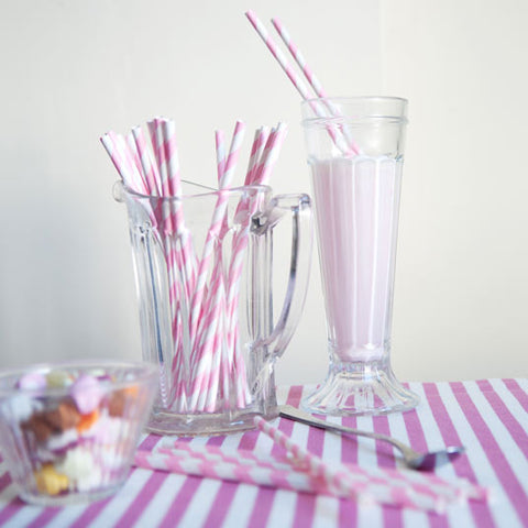 Pink Striped Striped Straws