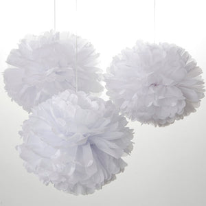 White Paper Pom Poms - Set of 3