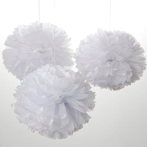 white paper pompom decorations
