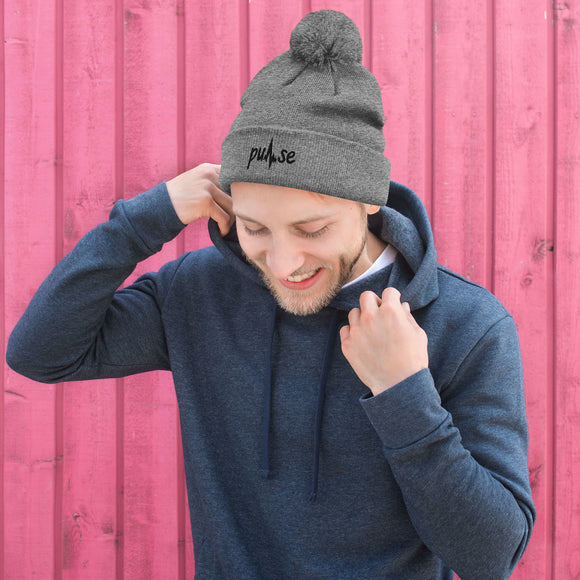 Black Embroidered Pulse Pom-Pom Beanie