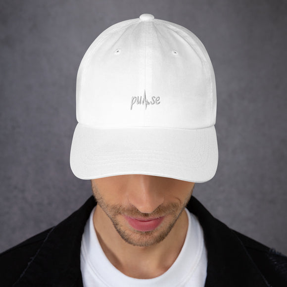 White Embroidered Pulse Dad Hat