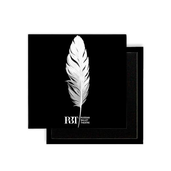 Ballet Magnet - White and Black Feather