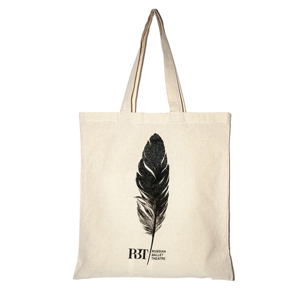 Cotton Bag - Swan Lake Black and Natural Feather