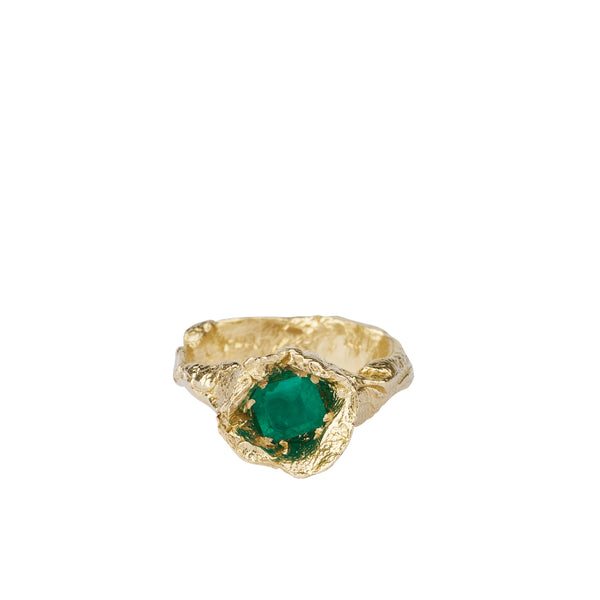 ALICE WAESE HYDRA RING | MOLTEN 14K GOLD | EMERALD | CHUNKY RING | AETLA JEWELLERY EDINBURGH