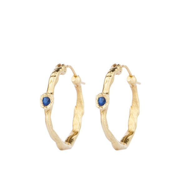 ROWENA HOOP EARRINGS | ALICE WAESE | GOLD HOOPS BLUE SAPPHIRE | AETLA JEWELLERY EDINBURGH