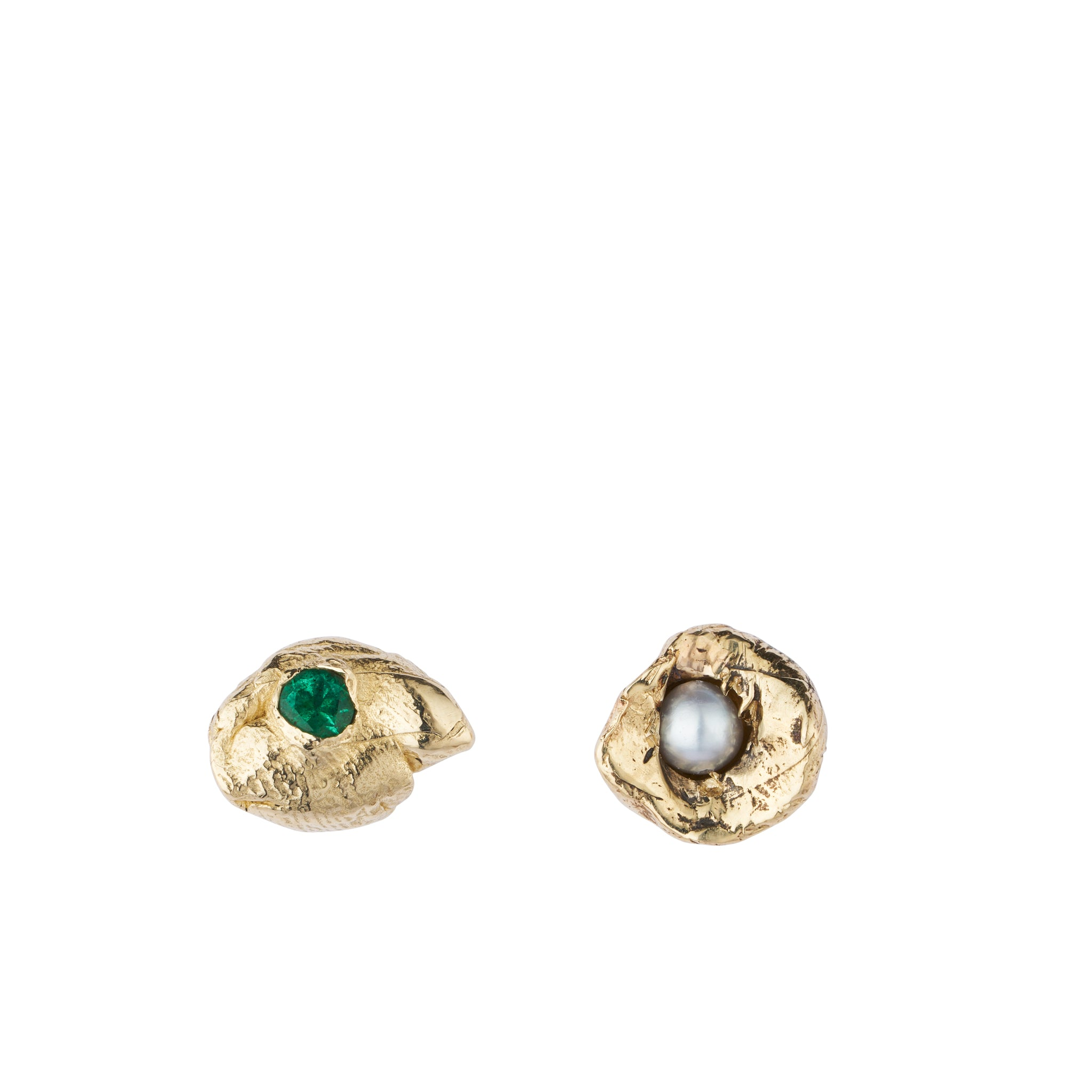 ALICE WAESE ROWENA MISMATCHED EARRINGS | EMERALD AND PEARL GOLD ASYMMETRICAL STUD EARRINGS | AETLA JEWELLERY EDINBURGH