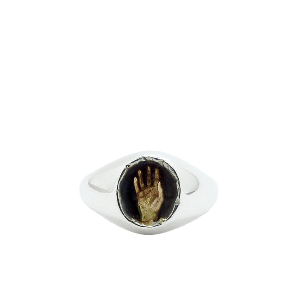 FRASER HAMILTON BREACH RING | SILVER SIGNET RING | GOLD PALM HAND | AETLA JEWELLERY EDINBURGH