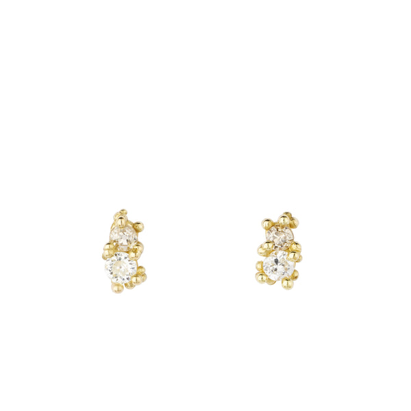 Double Antique Diamond Gold Stud Earrings | Ruth Tomlinson | Aetla