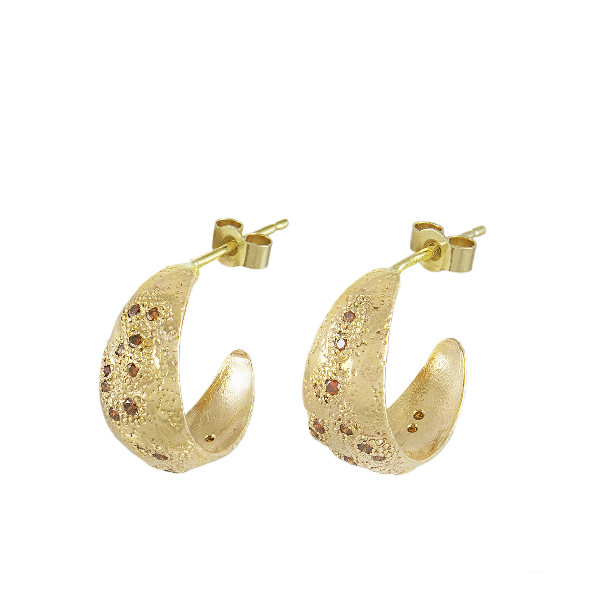 gold and cognac diamond hoop earrings
