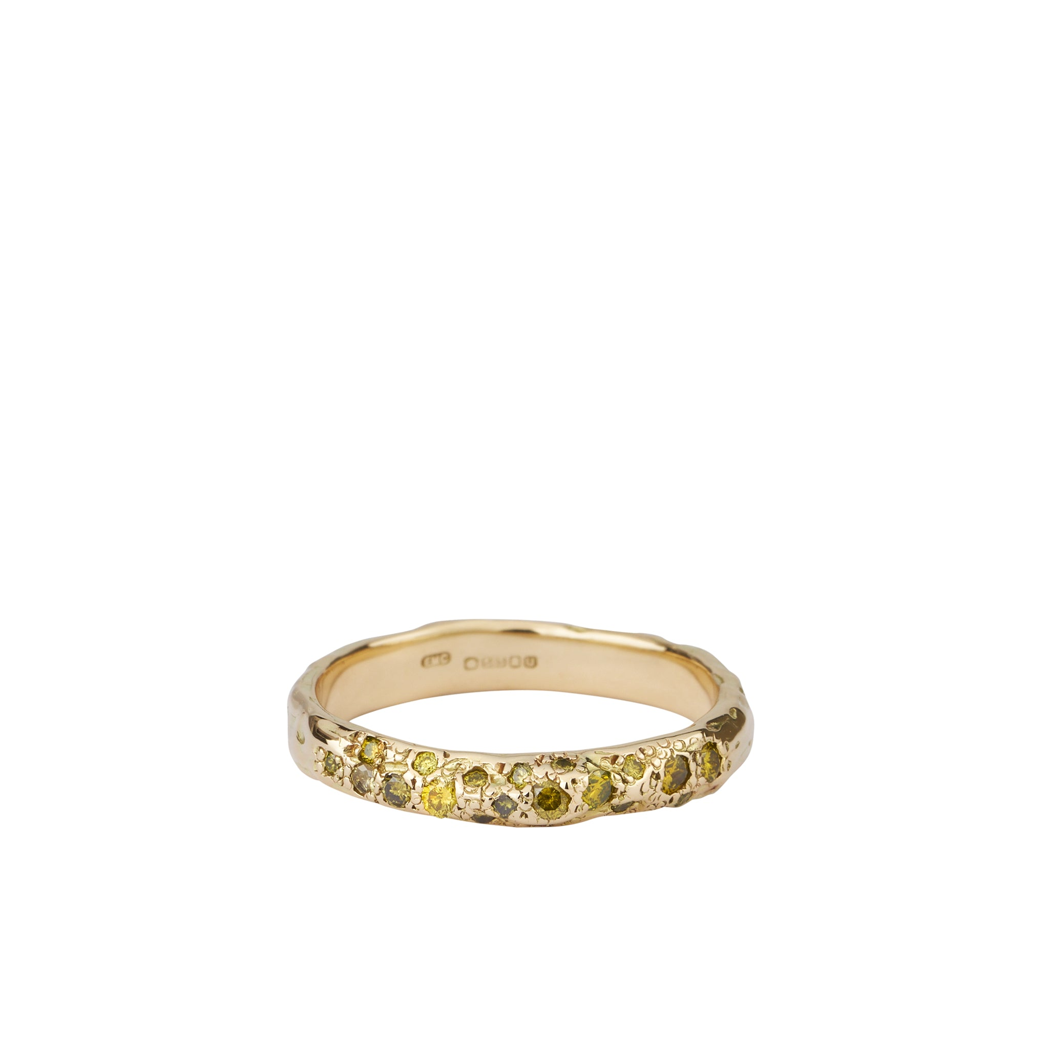 green diamond gold scatter ring