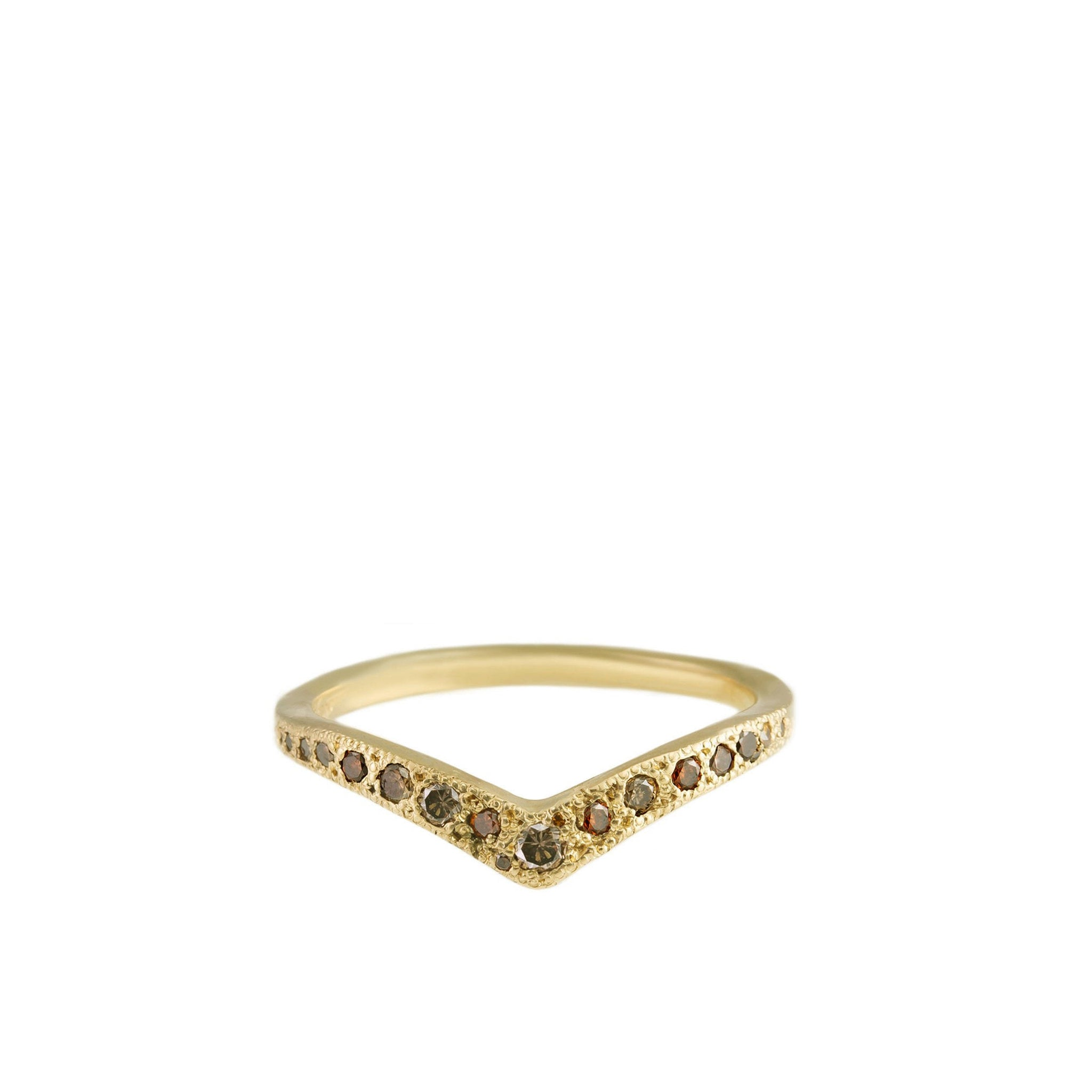 V shape gold ring with diamonds