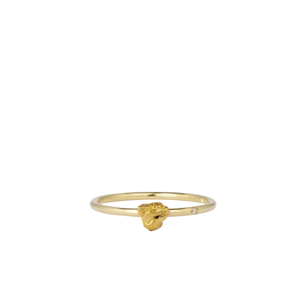 gold nugget and diamond engagement ring