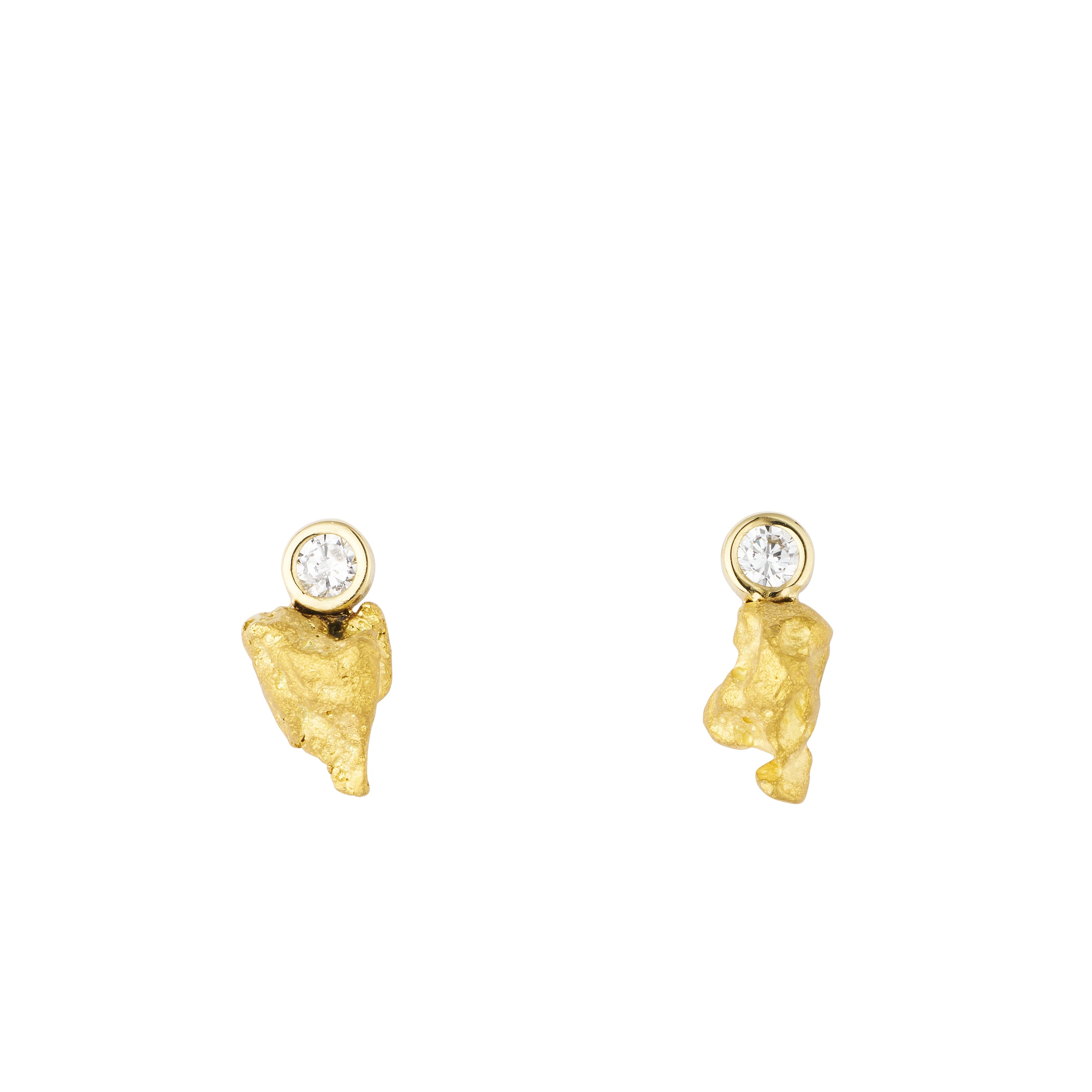 gold nugget diamond stud earrings