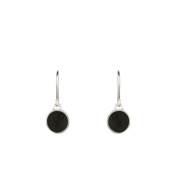 Turið Nolsøe Mohr | Turid Nolsoe Mohr | Handmade Black Basalt Stone and Silver Round Disc Drop Fish Hook Earrings |  Faroe Islands