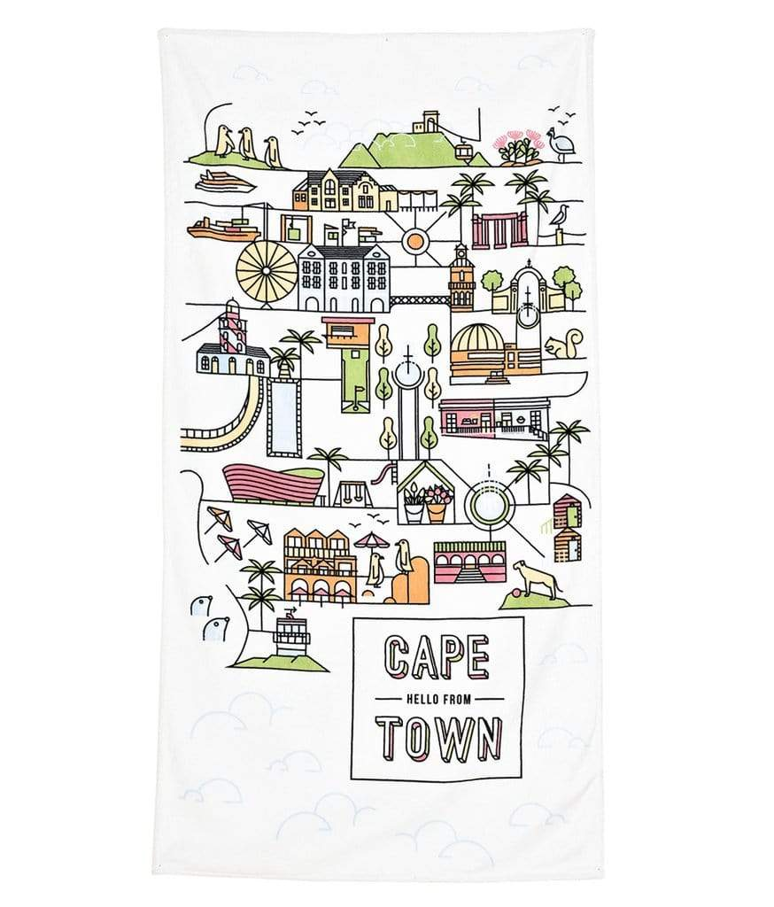 elevenpast Accessories Cape Town Beach Towel - White