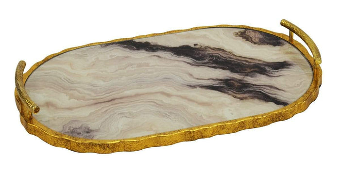 elevenpast Accessories CREME MARBLE GLASS PLATTER