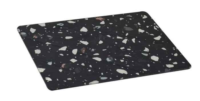 elevenpast Accessories GLASS PLACE MAT RECTANGLE TERRAZZO BLACK