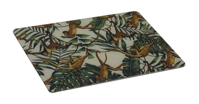 elevenpast Accessories GLASS PLACE MAT RECTANGLE TROPICAL MONKEY