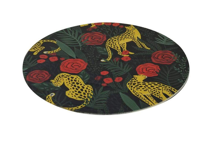 elevenpast Accessories GLASS PLACE MAT ROUND LEOPARD FLOWER