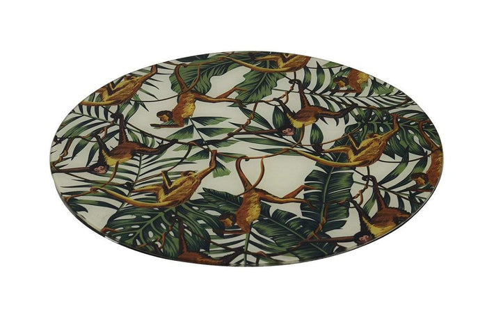 elevenpast Accessories GLASS PLACE MAT ROUND TROPICAL MONKEY S/2
