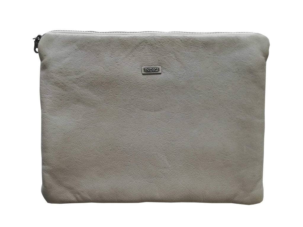 elevenpast Accessories Grey Leather Laptop Pouch 13""