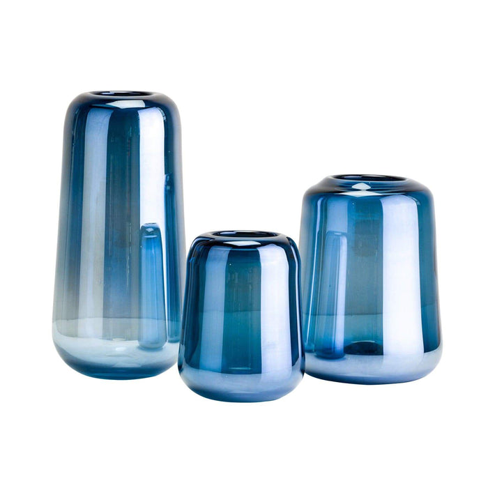 elevenpast Accessories Pearly Blue Glass Vase