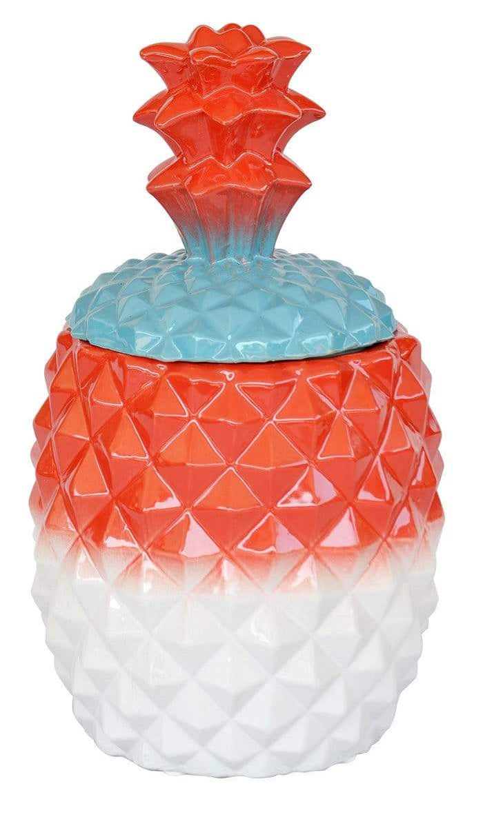 elevenpast Accessories White & Red Pineapple Cookie Jar