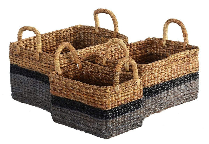 elevenpast baskets HYACINTH MIX GREY RECTANGLE basket