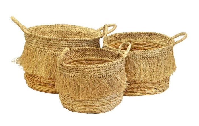 elevenpast baskets Large BASKET TASSEL NATURAL