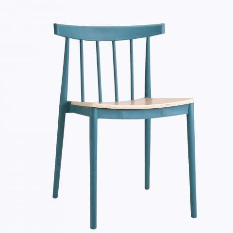 elevenpast Blue Tokyo Wood Seat Cafe Chair