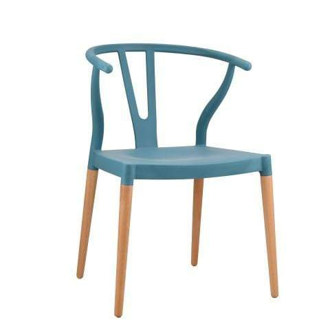 elevenpast Blue Wegner Wishbone Replica Cafe Chair