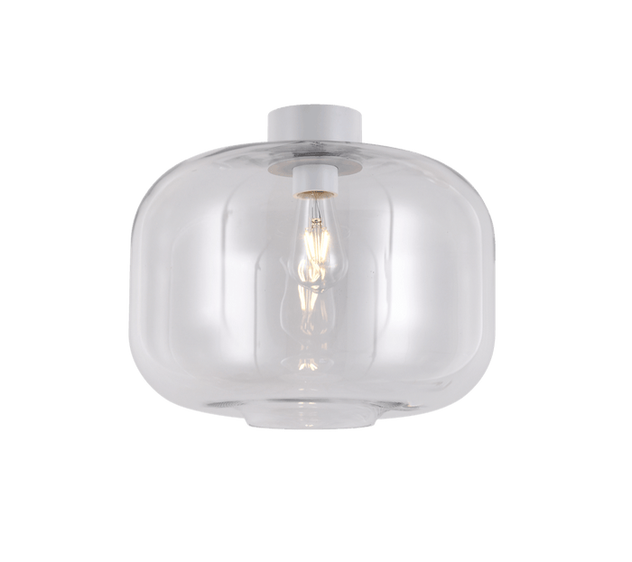 elevenpast Ceiling Light Clear Glass and White Glass Keg Ceiling Light