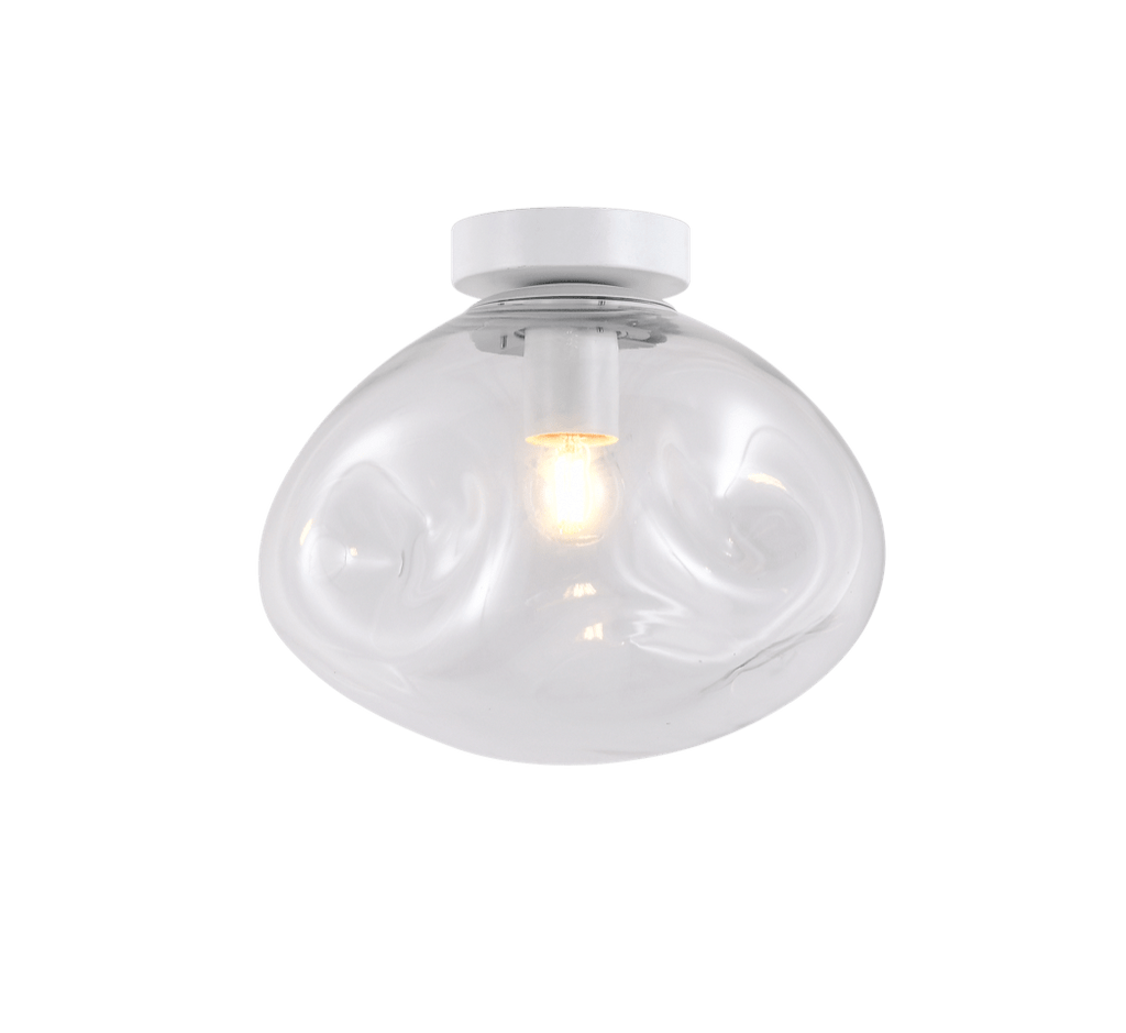 elevenpast Ceiling Light Large / Clear Glass and White Molten Ceiling Light