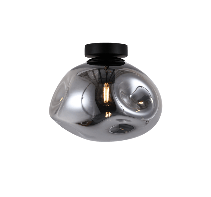 elevenpast Ceiling Light Large / Smokey Glass and Black Molten Ceiling Light