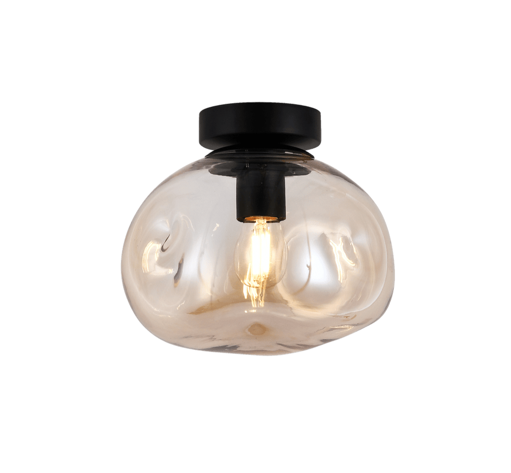 elevenpast Ceiling Light Small / Amber Glass and Black Molten Ceiling Light
