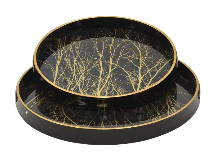 elevenpast Ceramics Glass Tray Black Tree