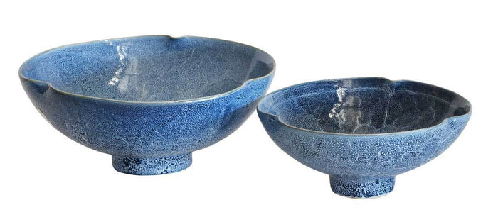 elevenpast Ceramics Medium Reactive Blue Clover Bowl