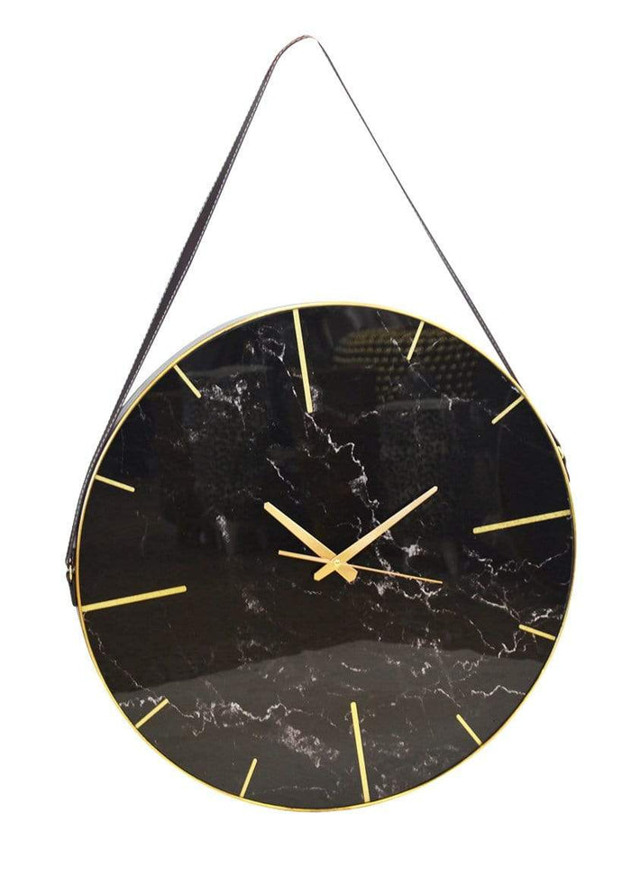 elevenpast Clocks GLASS CLOCK MARBLE BLACK60CM
