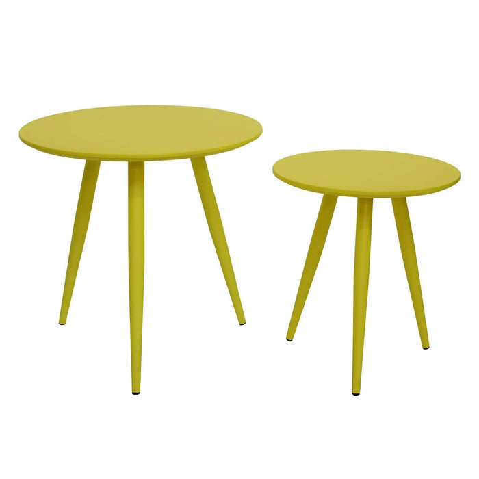 elevenpast Coffee tables Nesting Side Table Set of 2 Yellow