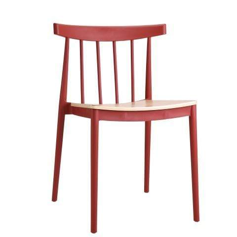 elevenpast Crimson Red Tokyo Wood Seat Cafe Chair