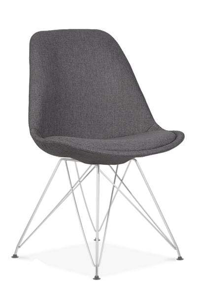 elevenpast Dark Grey / Chrome Upholstered Eames Inspired Chair