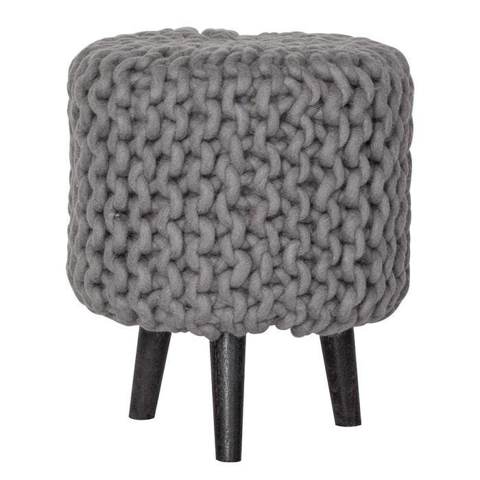elevenpast decorative Grey Knitted Stool
